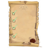 Scroll of old paper with ornaments Royalty Free Stock Photos