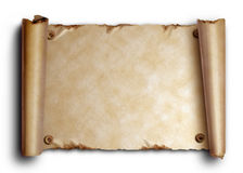Scroll of old paper with rounded edges and nails Royalty Free Stock Photography