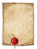 Scroll old paper sheet with red wax seal. Scroll old paper sheet, Vintage aged old paper with red wax seal separated on white original background or texture Stock Images