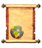Scroll of old parchment with decorative ornament Stock Photos