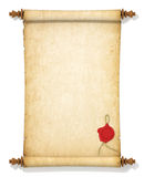 Scroll of old yellowed paper with a wax seal Stock Photography