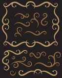 Scroll ornaments and panel. Set of decorative scroll ornaments, corner and symmetry Royalty Free Stock Photography