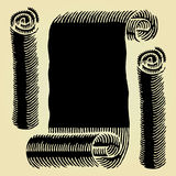 Scroll paper black woodcut Royalty Free Stock Photography