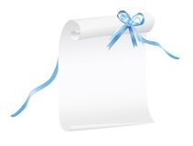 Scroll of paper with a blue ribbon Royalty Free Stock Photography