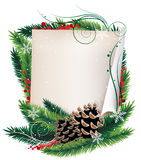 Scroll paper and Christmas wreath Royalty Free Stock Photo