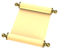 Scroll paper with golden handles over white. Royalty Free Stock Image