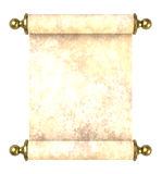 Scroll paper with golden handles over white. Stock Photos
