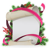 Scroll paper with ribbon and spruce branches Stock Photo