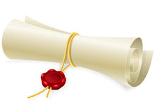 Scroll paper with seal of sealing wax Stock Images