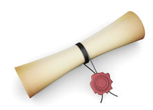 Scroll paper with a seal on a white background Stock Photos
