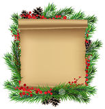Scroll paper with spruce branches Stock Image