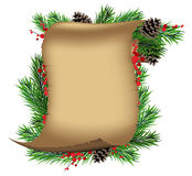 Scroll paper with spruce branches and red berries Stock Photography