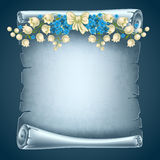 Scroll paper. Vertical old scroll paper with beautiful flowers and space for your text Royalty Free Stock Photo
