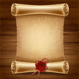 Scroll paper. Vertical old scroll paper on wooden background with space for your text Royalty Free Stock Photos