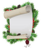 Scroll paper and  wax seal with spruce branches Stock Photography