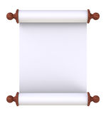 Scroll paper with wooden handles over white. Computer generated 3D photo rendering Royalty Free Stock Photo