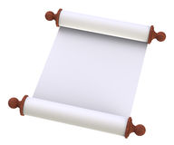 Scroll paper with wooden handles over white Royalty Free Stock Photography