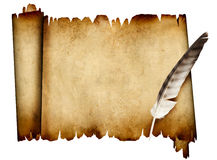 Scroll of parchment and feather Stock Image