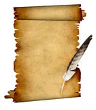 Scroll of parchment and feather Stock Images