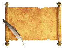 Scroll of parchment and feather stock photography