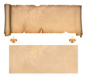 Scroll of parchment and old paper Royalty Free Stock Photos