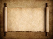 Scroll parchment over old paper background 3d illustration. Ancient scroll parchment over old paper background royalty free illustration