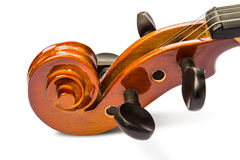 Scroll and pegbox of violin Stock Images