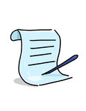 Scroll and pen illustration. Paper with pen cartoon Stock Photos