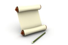 Scroll with pencil Royalty Free Stock Photo