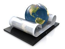Scroll and planet Stock Photo