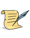 Scroll and quill illustration. Paper with feather pen cartoon Stock Photography