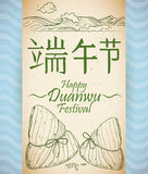 Scroll with Recreation of Zongzi's Tradition in Duanwu Festival, Vector Illustration Stock Photos