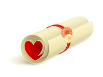 Scroll with red heart Royalty Free Stock Images