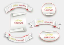 Scroll Red, Merry Christmas, realistic, paper banners. Vector illustration Royalty Free Stock Photos