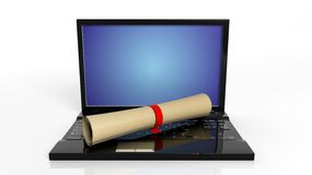 Scroll with red ribbon and laptop Royalty Free Stock Images