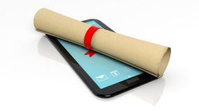 Scroll with red ribbon and tablet Royalty Free Stock Image