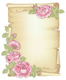 Scroll and roses. Sheet of old paper decorated of pink roses with green leaves Royalty Free Stock Images
