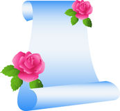 Scroll with roses. Isolated on white, vector, eps 8 format Royalty Free Stock Images