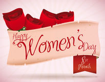Scroll with Roses and Women's Day Message, Vector Illustration Royalty Free Stock Image