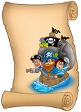 Scroll with saiboat and pirates Royalty Free Stock Photography