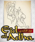 Scroll with Scene of Abraham`s Sacrifice for Eid al Adha, Vector Illustration. Scroll with religious representation of the origin of the celebration Eid al-Adha royalty free illustration