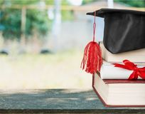 Scroll. Top university graduation roll learned on royalty free stock photo