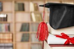 Scroll. Top university graduation roll learned on stock image