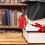 Scroll. Top university graduation roll learned on royalty free stock images