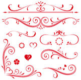 Scroll Set Hearts Stock Photography