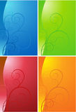 Scroll Shape Background Set. Colorful group of wave style images Royalty Free Stock Photo