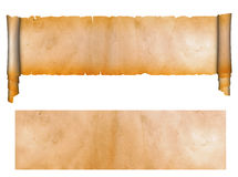 Scroll and sheet of old paper. Scroll of antique parchment and sheet of grunge paper vector illustration