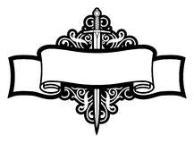 Scroll And Sword. Black And White Scroll And Sword Royalty Free Stock Photography