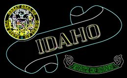 Idaho Scroll. A scroll with the text Idaho with the flag of the state detail stock illustration