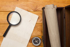 Scroll to a box and compass Royalty Free Stock Photos